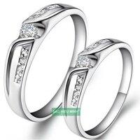 Nhẫn đôi Bạc Hiểu Minh NC219 Nắm tay nhau (Bạc)