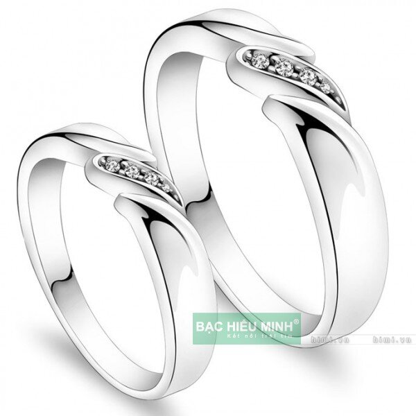 Nhẫn đôi Bạc Hiểu Minh NC355 - Nụ hôn nhẹ nhàng