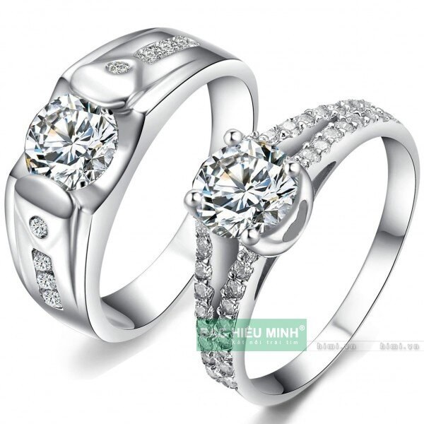 Nhẫn đôi Bạc Hiểu Minh NC358 - Tình yêu vĩnh cửu