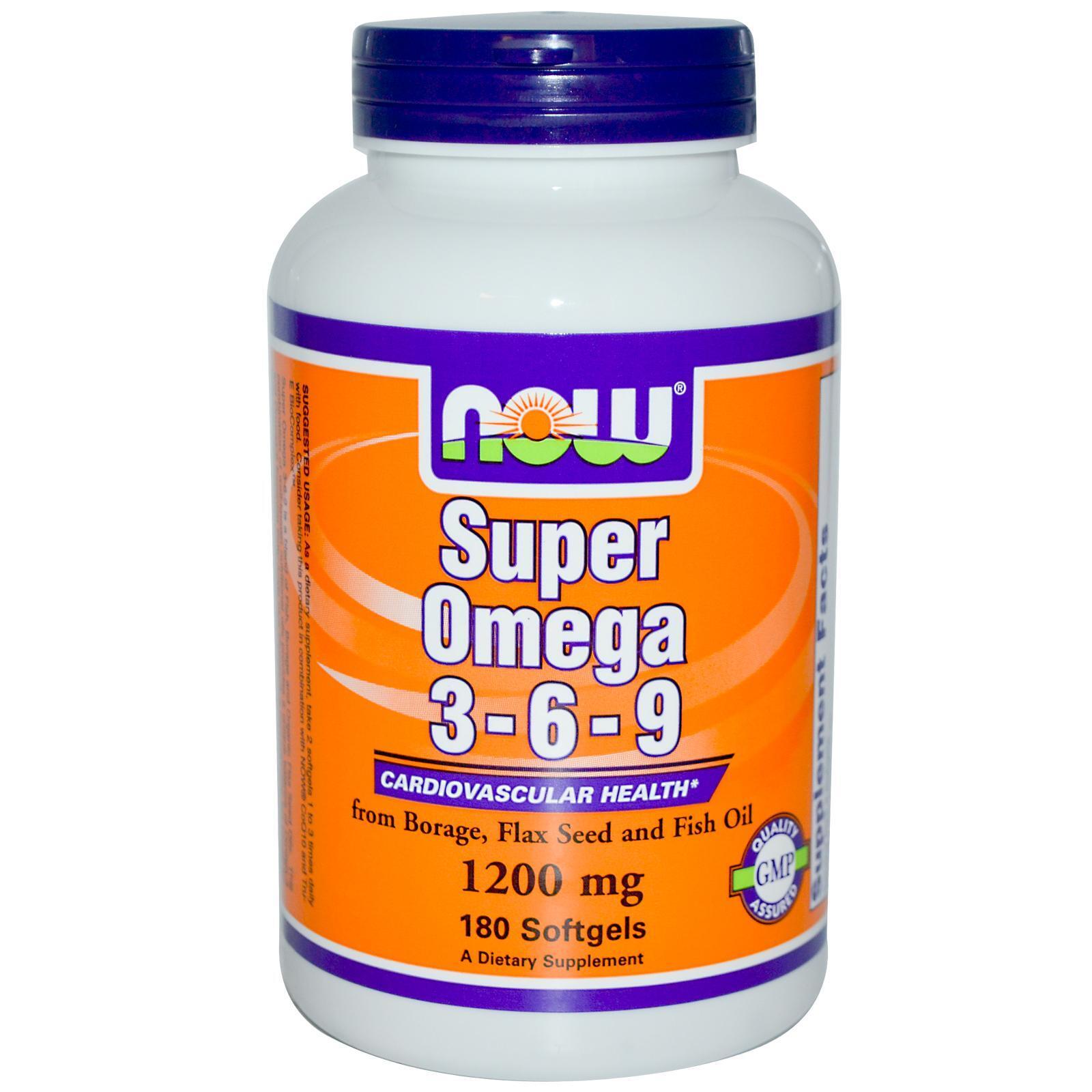 NOW FOOD Super Omega 3, 6, 9 – Viên uống duy trì và hỗ trợ sức khỏe tim mạch, 180 viên