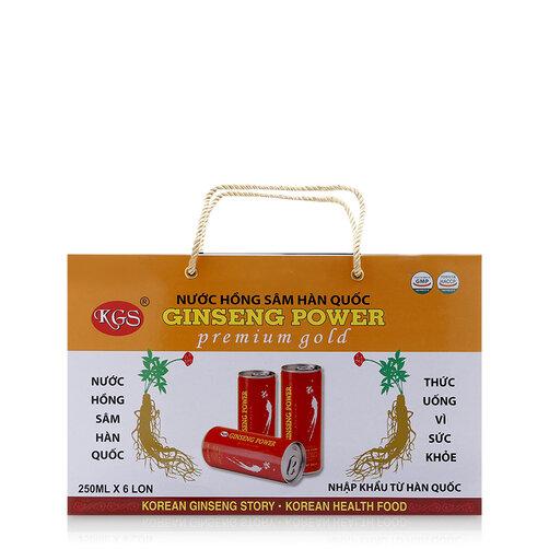 Nước tăng lực hồng sâm KGS Ginseng Power Premium Gold 250ml x hộp 6 lon