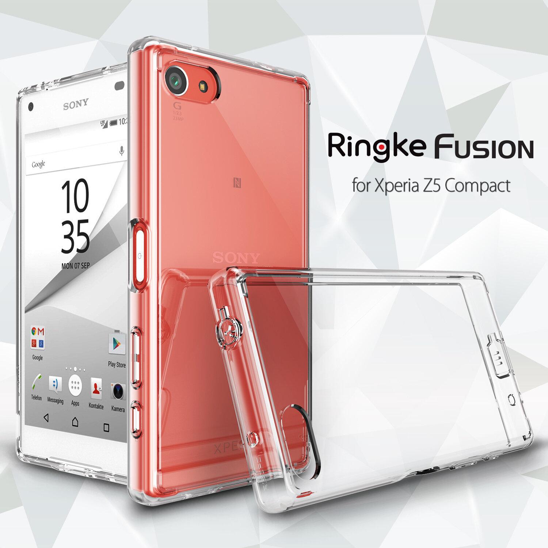 Ốp lưng Sony Xperia Z5 Compact nhựa cứng trong suốt Ringke Fusion hiệu Rearth Hàn Quốc