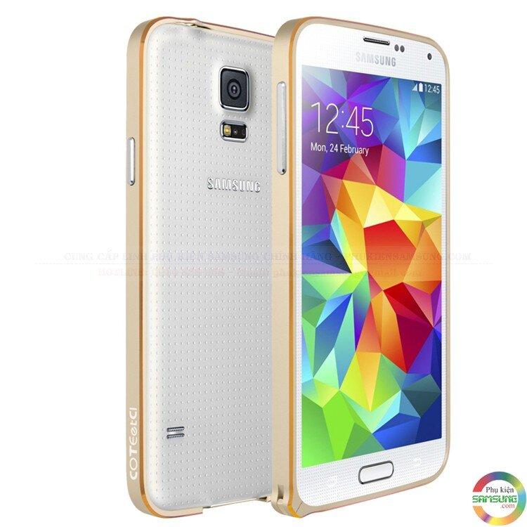Ốp viền nhôm chỉ vàng Galaxy S5 G900 hiệu Coteetci