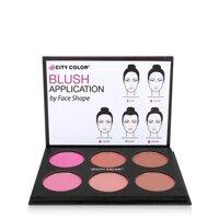 Phấn má City Color Glow Pro Blush Palette Matte Collection tông cam, nude, nâu