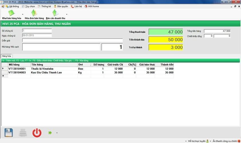 Phần mềm cửa hàng tạp hóa, đồ hộp HiVi 2S PCA