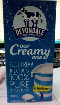 Sữa tươi Devondale nguyên kem 2L (6 hôp/thùng )