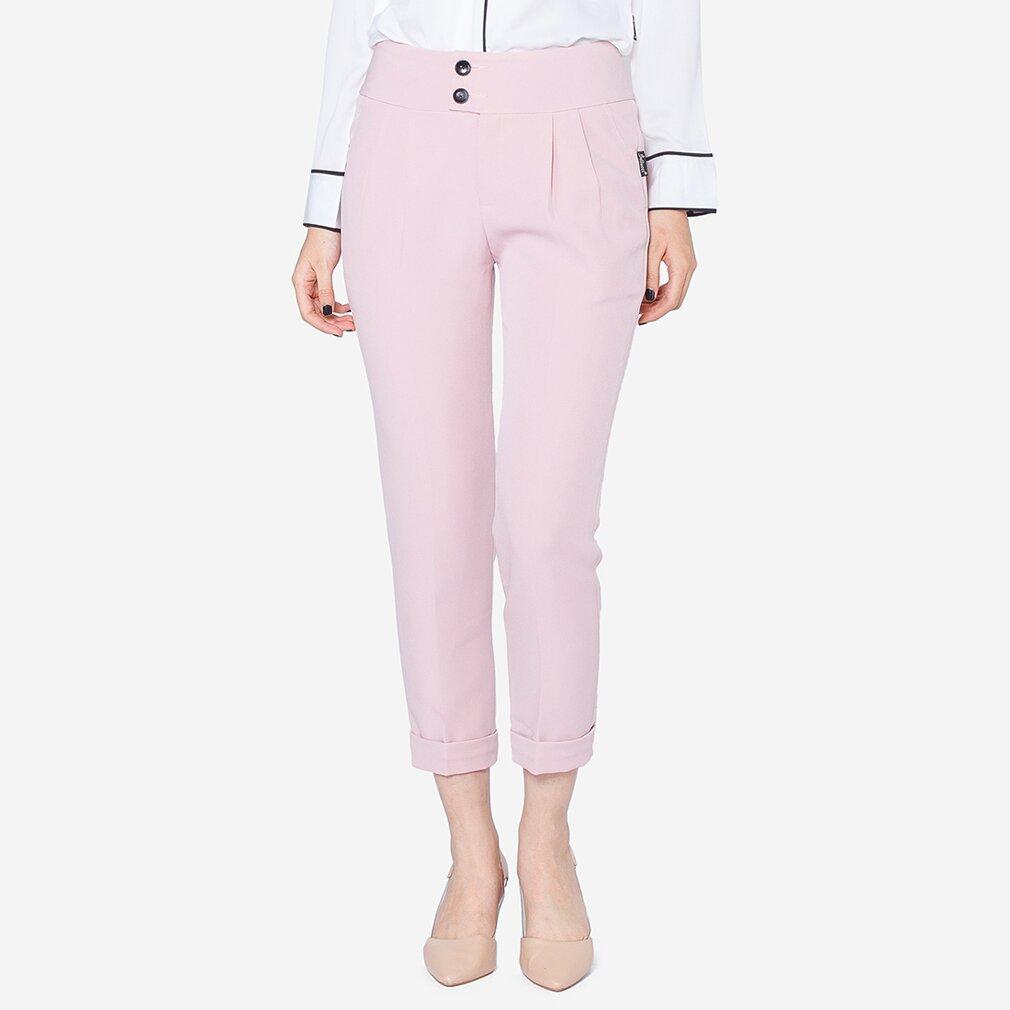 Quần dài cạp 2 khuy màu hồng The One Fashion QL108HN4