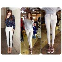 Quần jean trắng lưng cao 1 nút korea