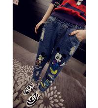 Quần jeans lưng thun mickey