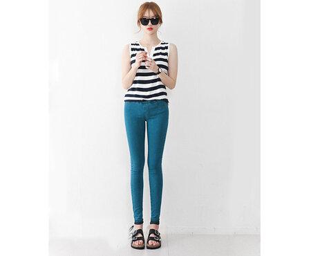 Quần legging giả jeans nữ lưng thun