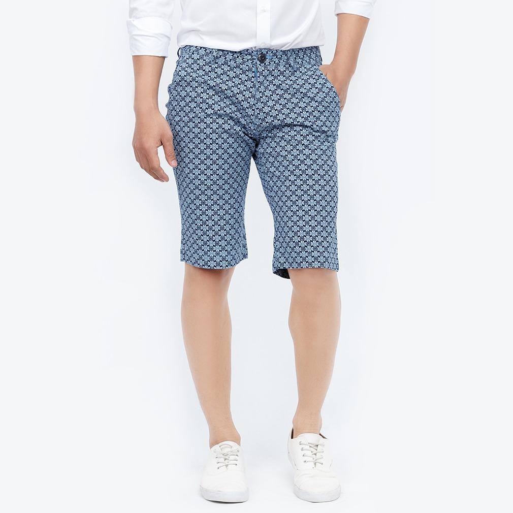 Quần short kaki Novelty Regular fit xanh đen hoa văn nhạt NSKMINNCSR1620250