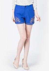 Quần shorts Nefertiti màu xanh coban phối họa tiết
