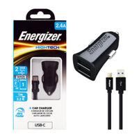 Sạc ôtô 2 cổng Energizer 2.4A DCA2BHC23 + Kèm cáp USB-Type C 2.0