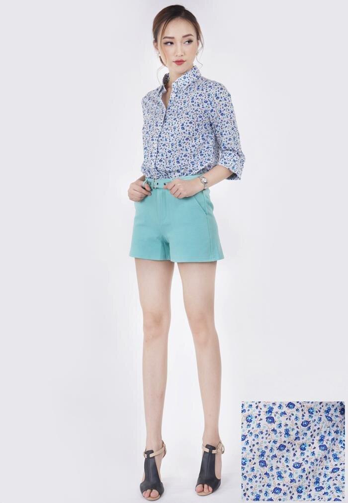 Set áo sơ mi hoa, quần short nữ Lamer SET N01700133-NN04170136