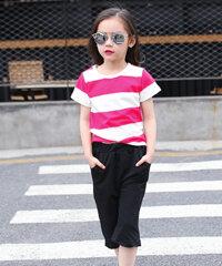 Set áo thun sọc ngang quần ống rộng cho bé gái TH07162 - màu xanh/ hồng