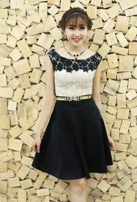 Set nguyên bộ áo ren hoa chân váy xòe VD162