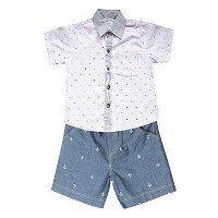 Set quần short xanh và áo sơ mi họa tiết xương cá Cuckeo Kids QSSM017