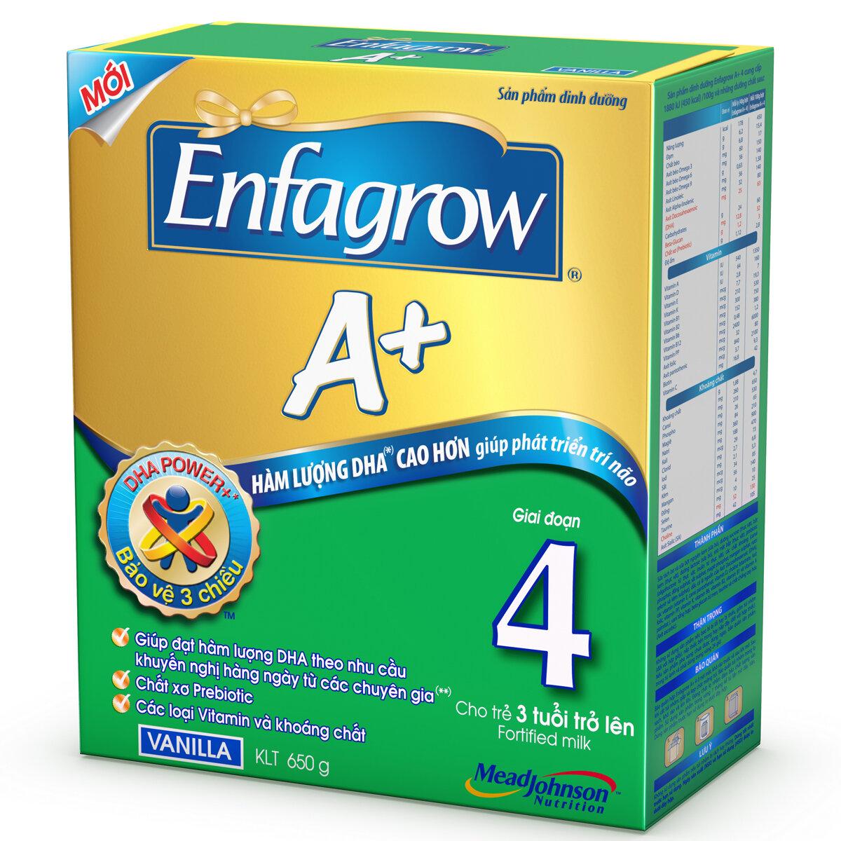 Sữa bột Enfagrow A+ 4 - hộp 650g (dành cho trẻ từ 3 - 6 tuổi)