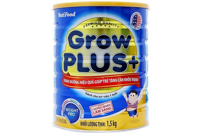 Sữa bột Nutifood Grow Plus + tăng cân - hộp 1.5kg (dành cho trẻ em từ 1 tuổi trở lên bị thiếu cân)
