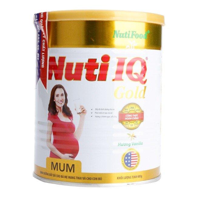Sữa bột Nutifood Nuti IQ Mum Gold - hộp 400g (dành cho bà mẹ mang thai và cho con bú)