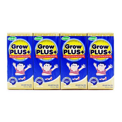 Sữa bột pha sẵn hương vani Grow Plus+ NutiFood lốc 4 hộp x 180ml