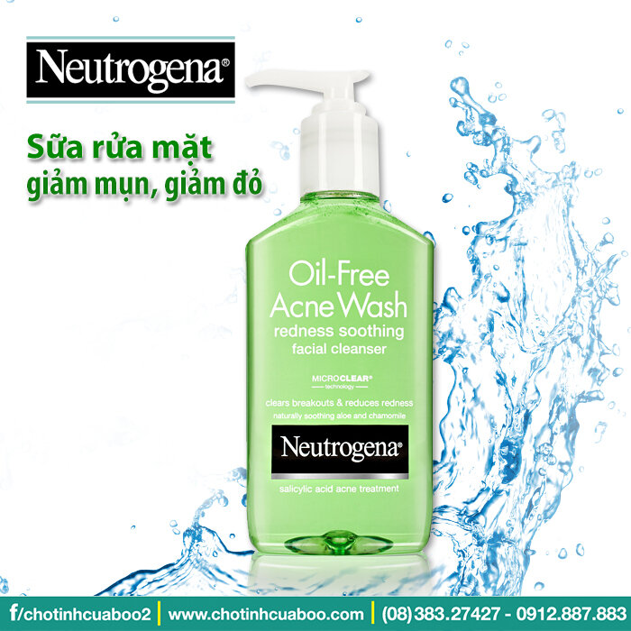 Sữa rửa mặt Neutrogena Oil-Free Acne Wash Redness Soothing Facial Cleanser - trị mụn, giảm đỏ