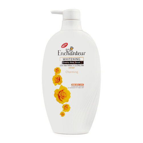 Sữa tắm trắng và dưỡng ẩm có hạt Enchanteur Charming 450g