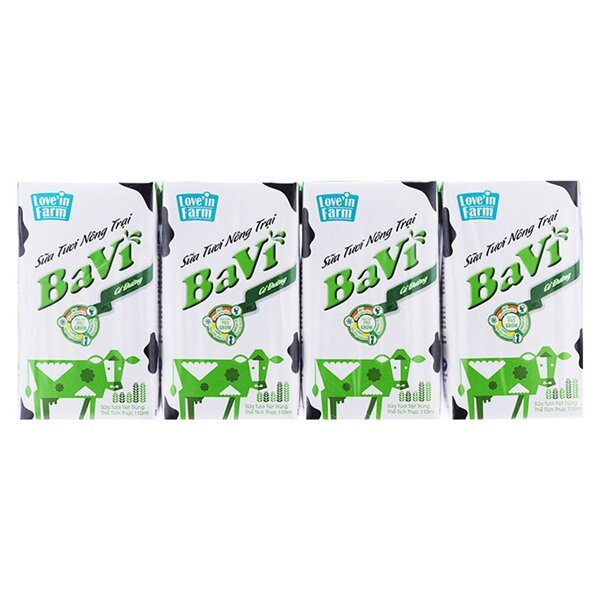 Sữa tươi Ba Vì hộp 110ml - Vỉ 4 hộp