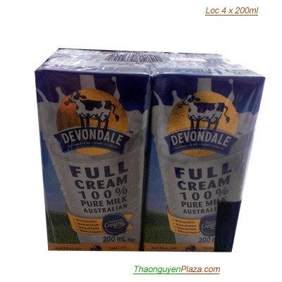 Sữa tươi ngoại Devondale Full Cream Milk - Lốc 4 x 200ML