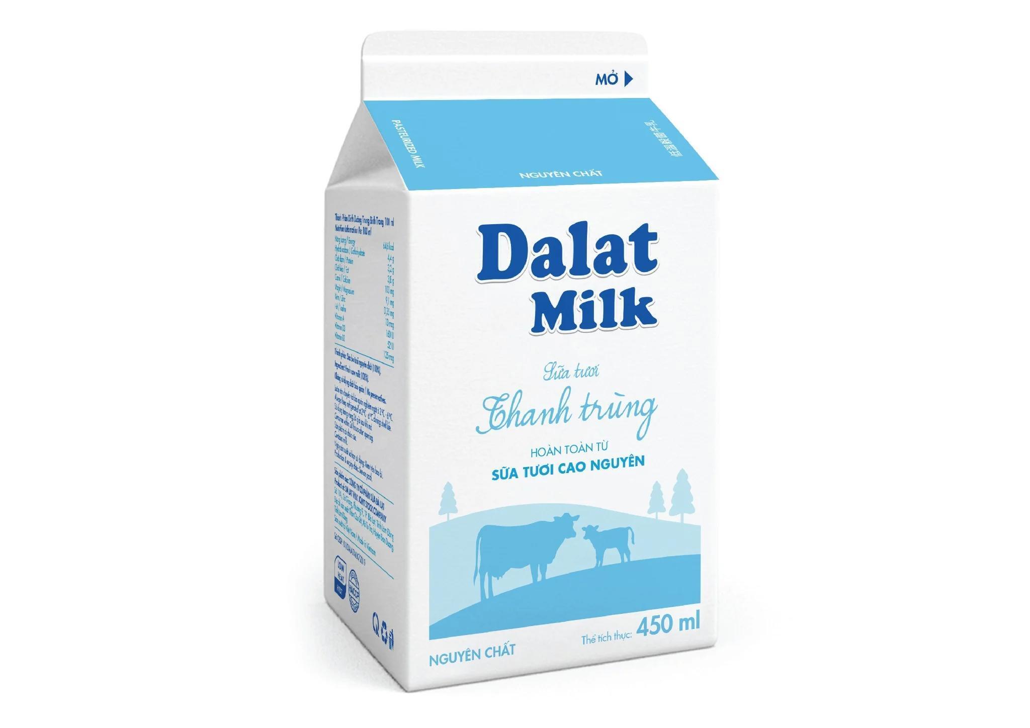 Sữa tươi thanh trùng Dalat milk không đường – 450ml