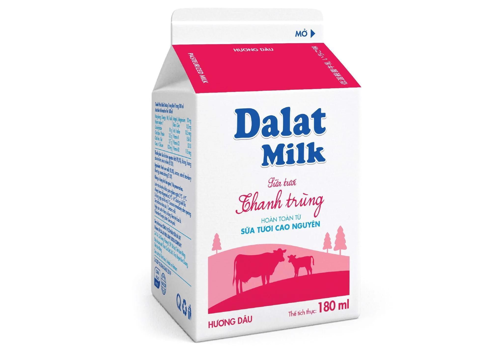 Sữa tươi thanh trùng Dalat milk dâu – 180ml