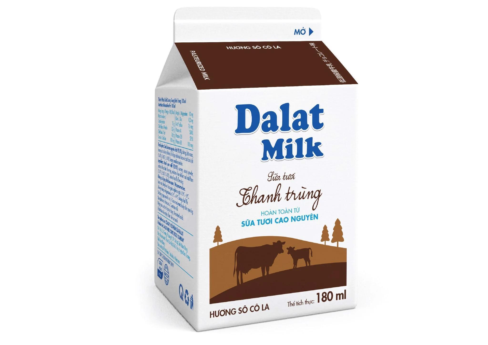 Sữa tươi thanh trùng Dalat milk socola – 180ml