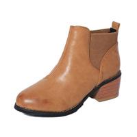 Giày boot nữ kiểu dáng đơn giản đế vuông cao 4 cm màu vàng da mềm S-GBN28