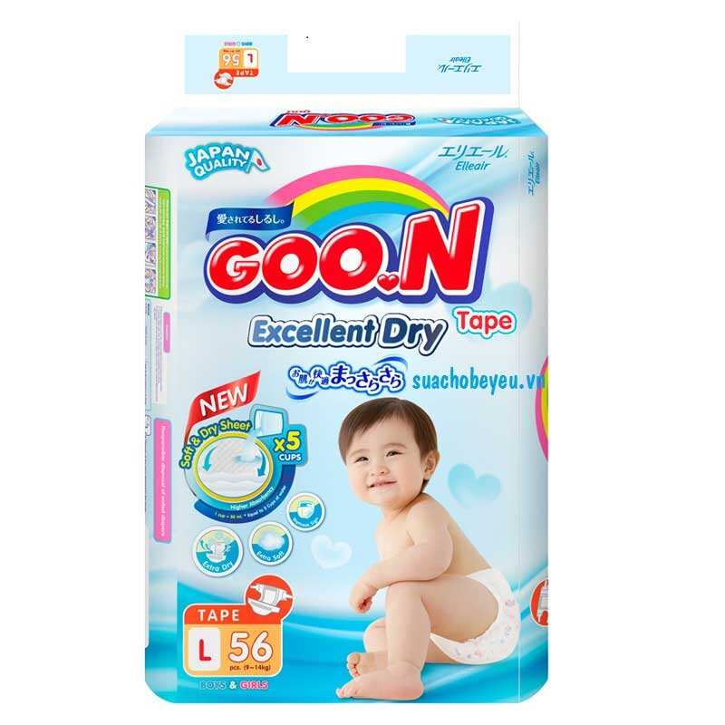 Tả - Bỉm Dán Goo.n mới Size L -56 miếng, 9-14kg