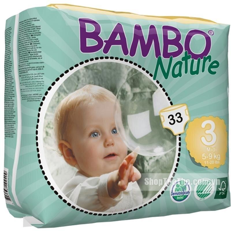 Tã dán Bambo Nature Midi 3 33 miếng (trẻ từ  5 - 9kg)