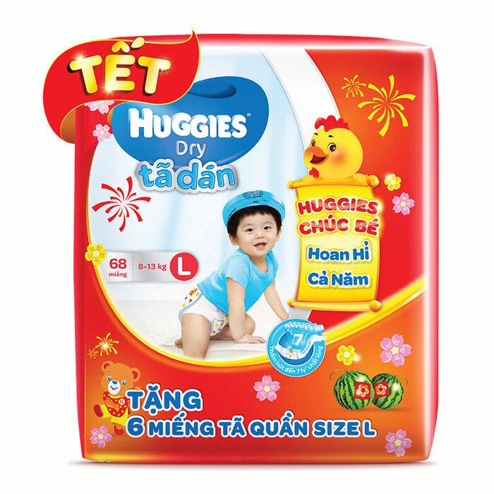 Tã dán Huggies Dry Jumbo L68 (8-13kg) - Tặng 6 miếng (Bao bì tết 2017)