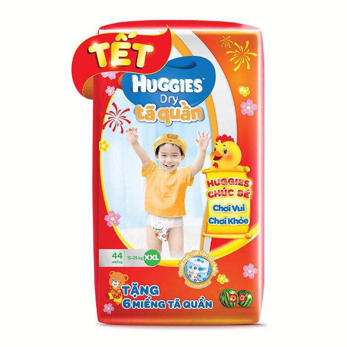Tã quần Huggies Dry Pants XXL44 (15-25kg) - Tặng 6 miếng tã quần (Bao bì tết)