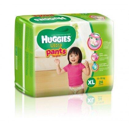Tã quần Huggies Ultra Pants bé gái size XL 24 miếng (trẻ từ 13 - 18kg)
