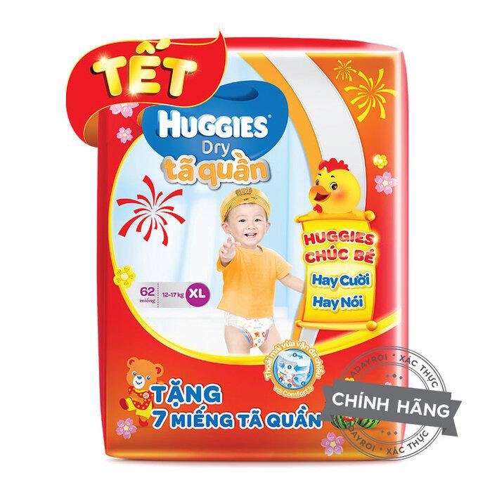 Tã quần Huggies XL62 (trẻ từ 12 - 17kg) + Tặng 7 miếng tã quần ( Bao bì tết)