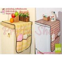 Tấm phủ tủ lạnh chống bụi có ngăn đựng đồ - GD027