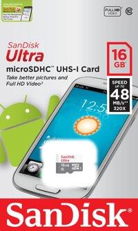 Thẻ nhớ Micro SD Sandisk Ultra - 16GB, 48MB/s