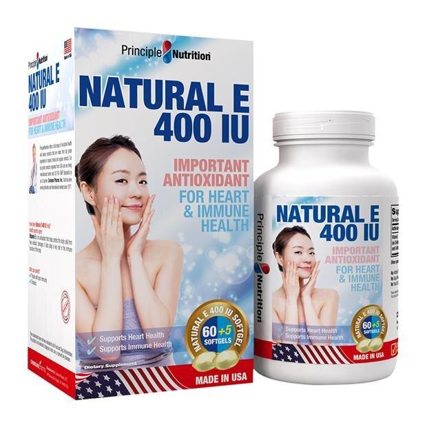 Thực phẩm chức năng bổ sung Vitamin E Principle Nutrition Natural E 400 IU 65 viên