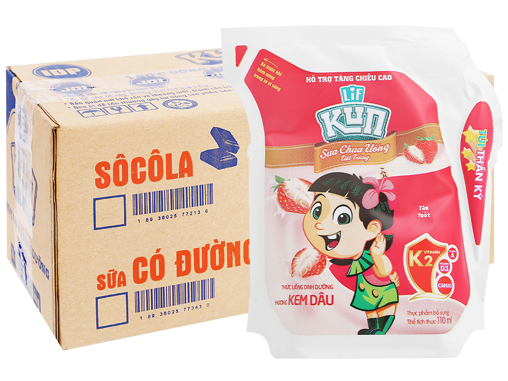 Thùng 24 túi sữa chua uống LiF Kun hương kem dâu 110ml