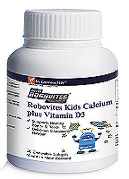 Thuốc bổ sung canxi và vitamin D3 cho trẻ Vitahealth robovites kids calcium plus vitamind3