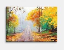 Tranh Canvas Vicdecor con đường lá vàng