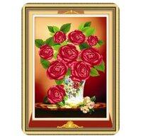 Tranh đính đá bình hồng đỏ DMX8335