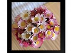 Tranh đồng hồ B2Q K054 - Bình hoa cúc