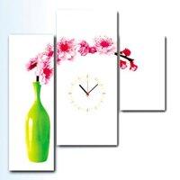 Tranh đồng hồ bình hoa tết BinBin TDH10