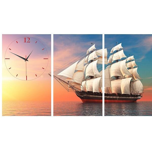 Tranh đồng hồ con thuyền bình minh Vicdecor DHT0209
