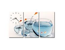 Tranh đồng hồ Suemall chậu cá vàng DV12146